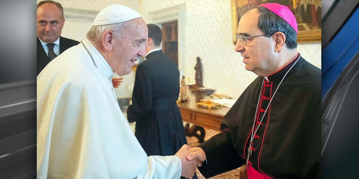 Baton Rouge Bishop Michael Duca meets with Pope Francis in Rome
