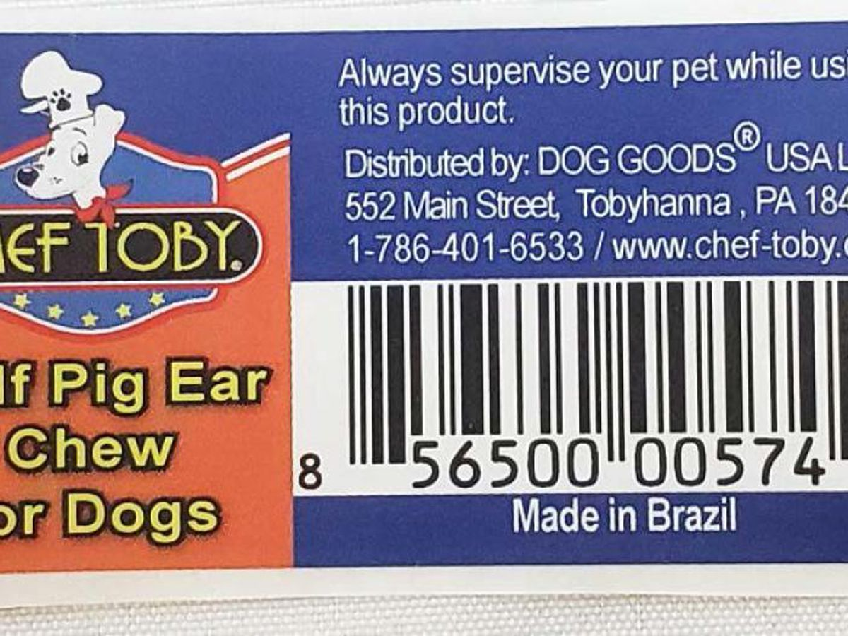 Dog Goods USA recalls Chef Toby Pig Ears due to salmonella risk