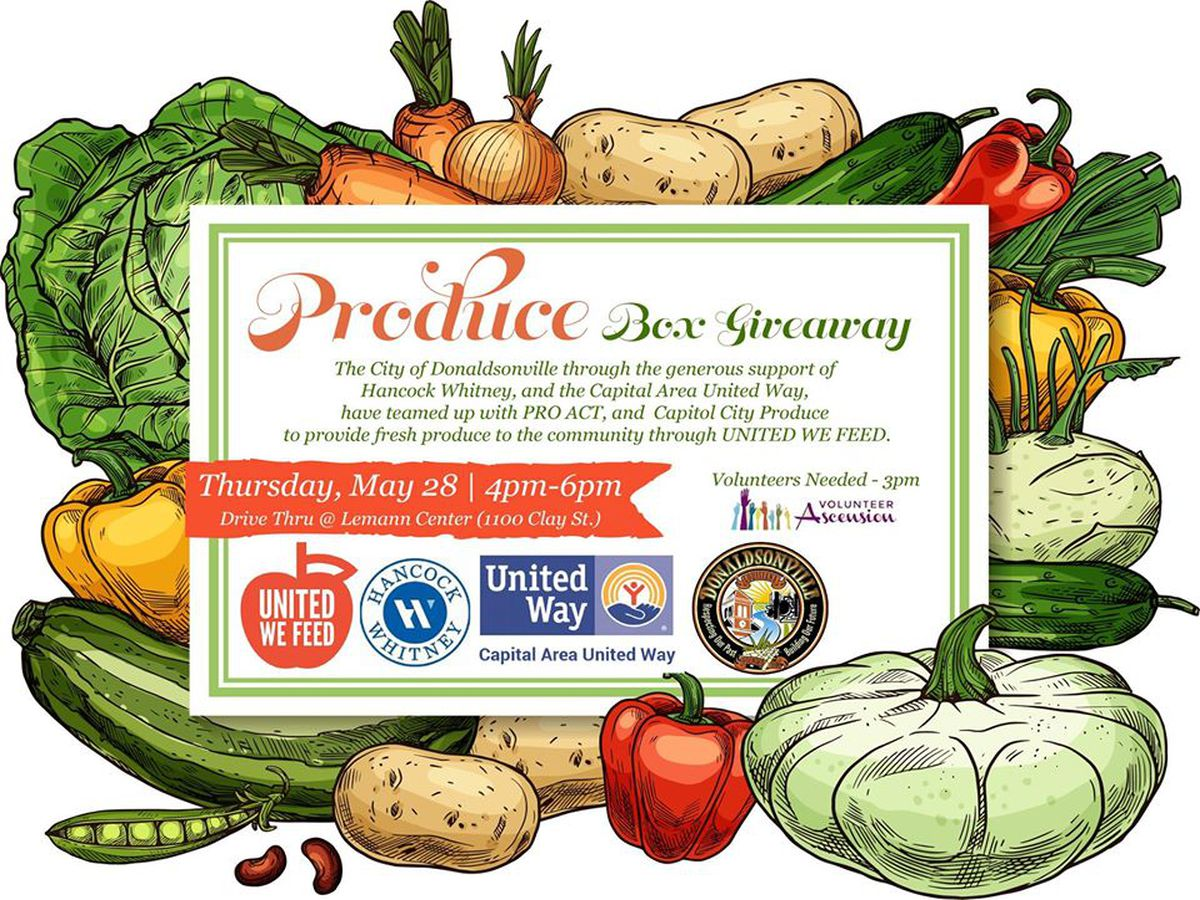 Produce giveaway happening in Donaldsonville Thursday, May 28