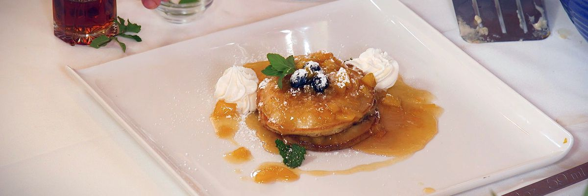 Buttermilk Pancakes with Peach-Honey Topping
