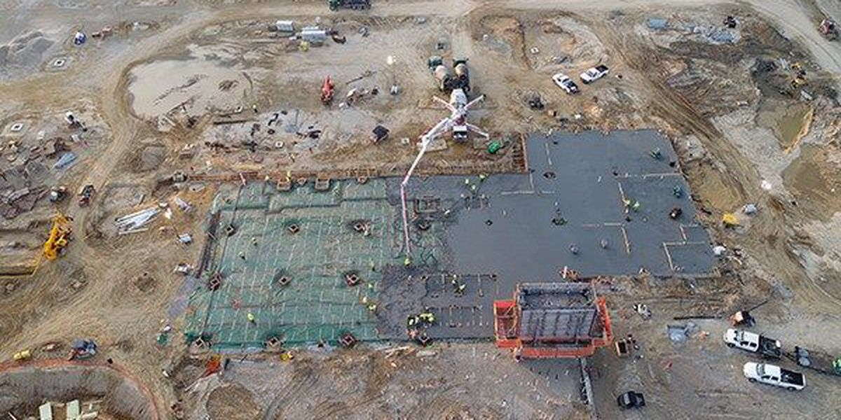 WATCH: Flyover video of first concrete slab poured at OLOL Children's Hospital
