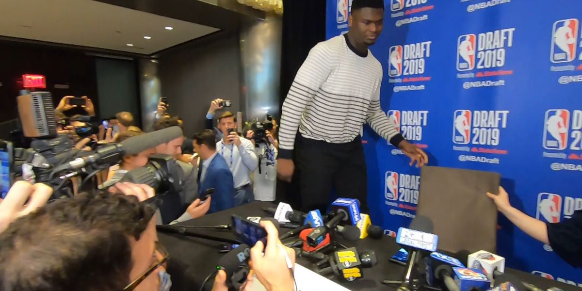 Pelicans' presumptive pick Zion Williamson confidently holds court with media