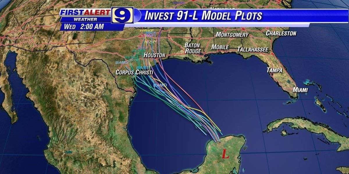 Invest 91L forecasted to move into Gulf of Mexico