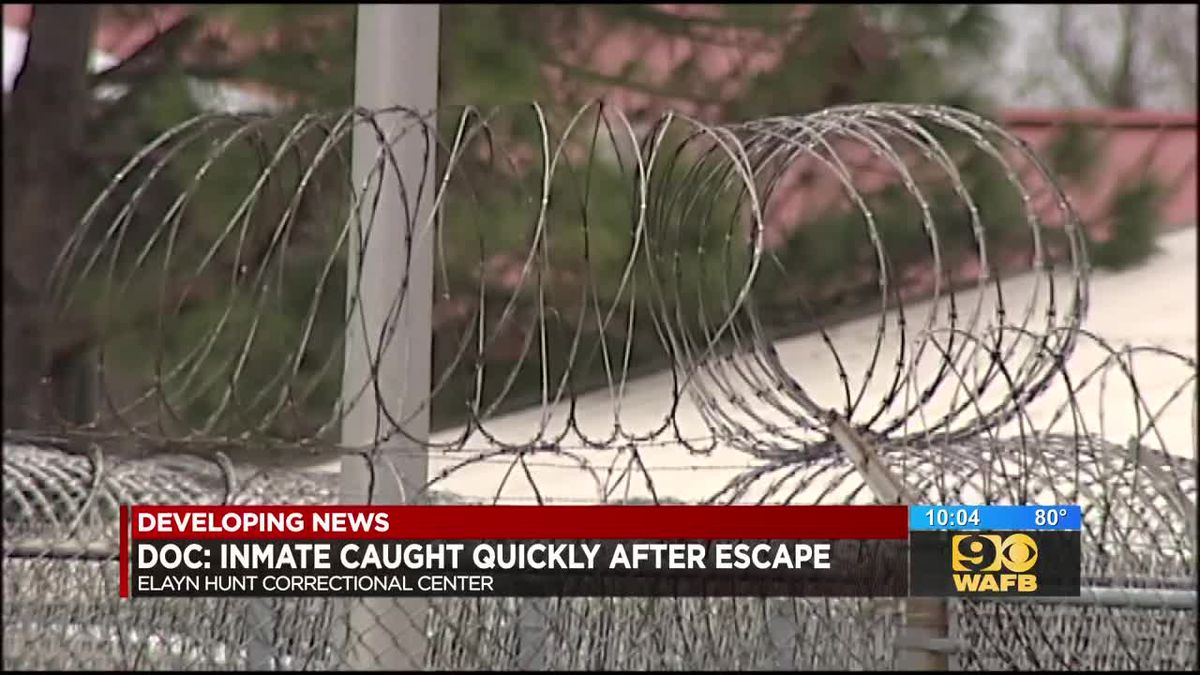 Elayn Hunt inmate captured 16 minutes after escaping