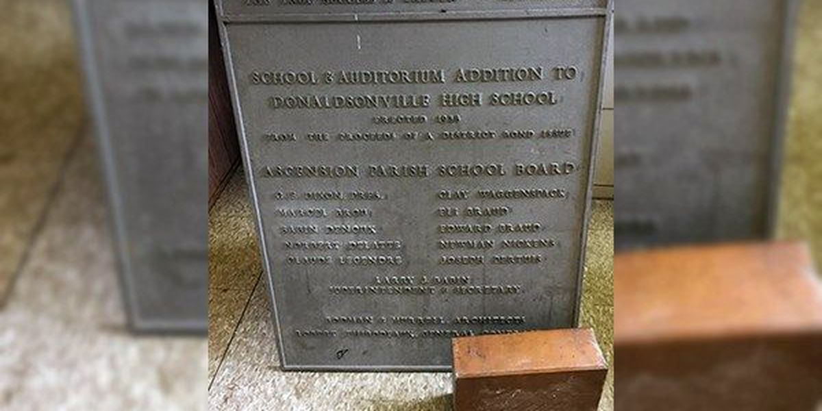 Time capsule from 1938 found while renovating Donaldsonville High