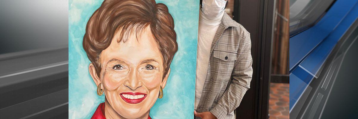 Artist paints portrait of Donna Britt