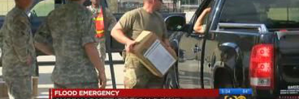 National Guard delivering meals and water to displaced families
