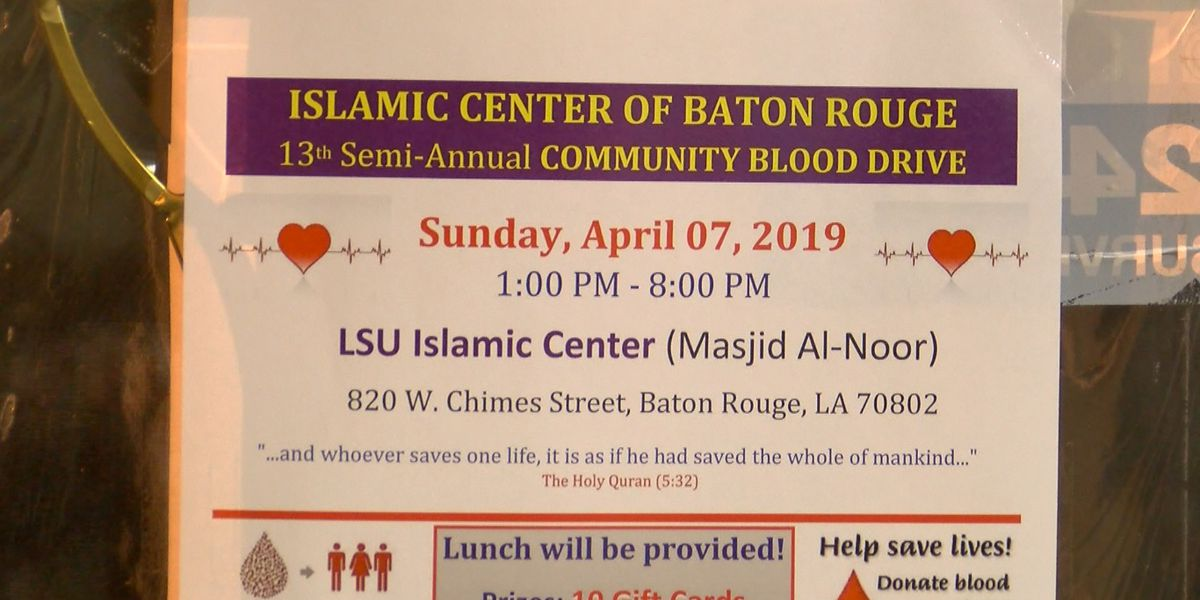 Islamic Center of BR and Lifeshare Blood Center host community blood drive Sunday