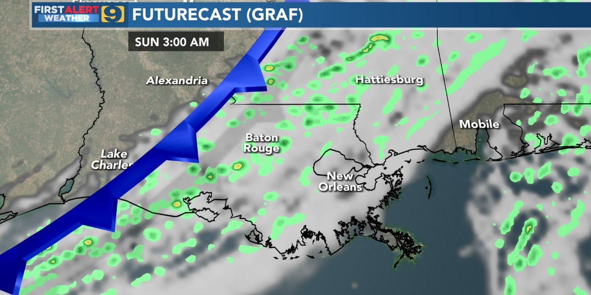 FIRST ALERT FORECAST: Cloudy, breezy, and warm for your Saturday with a chance of showers overnight