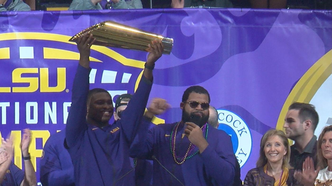 The football team celebrated its fourth national title in school history.