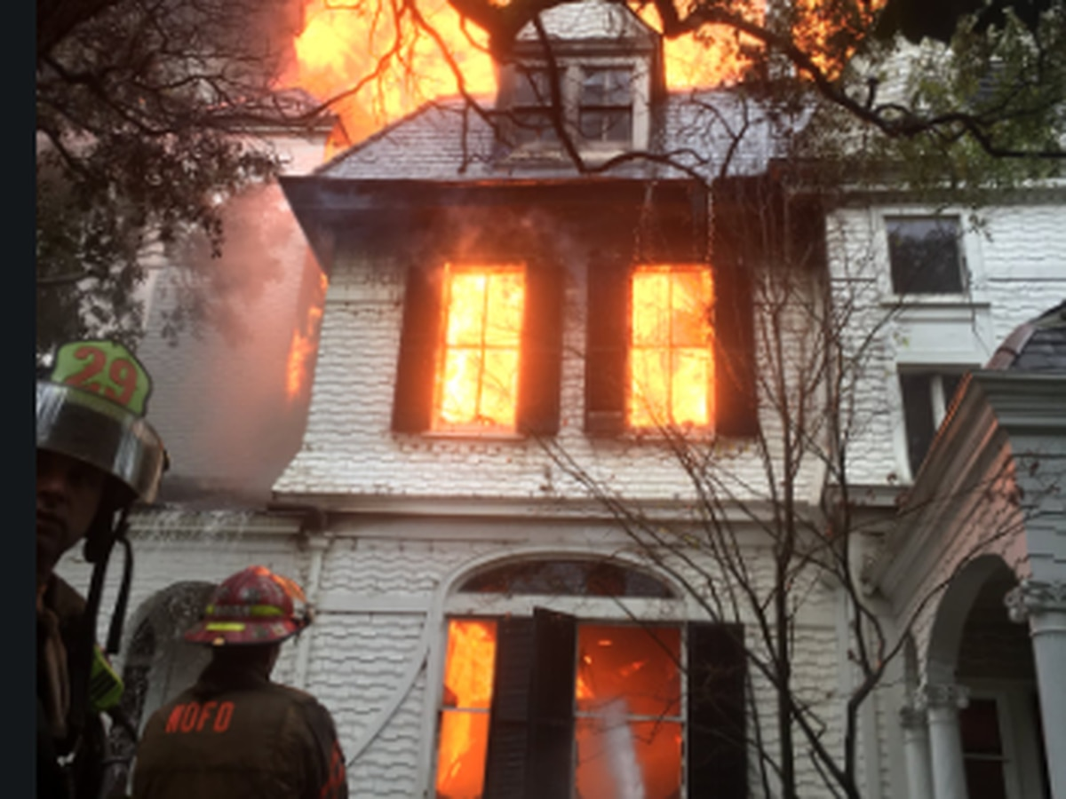 Massive mansion fire through historic home on St. Charles Ave. in New Orleans