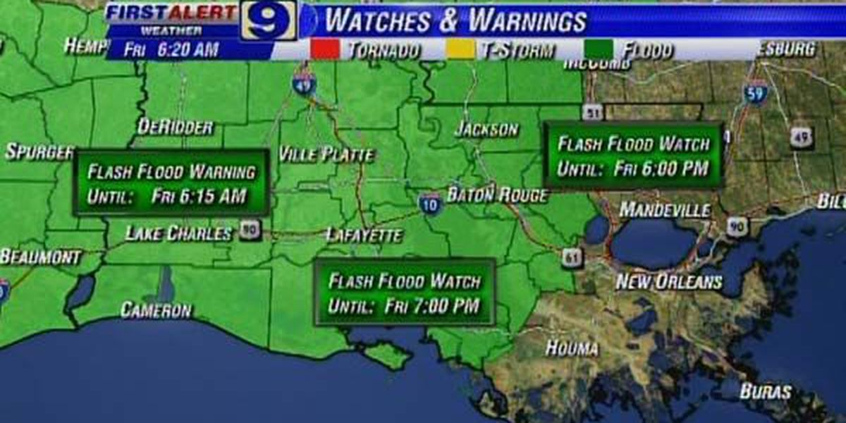 NWS issues flash flood watch for Metro Baton Rouge area