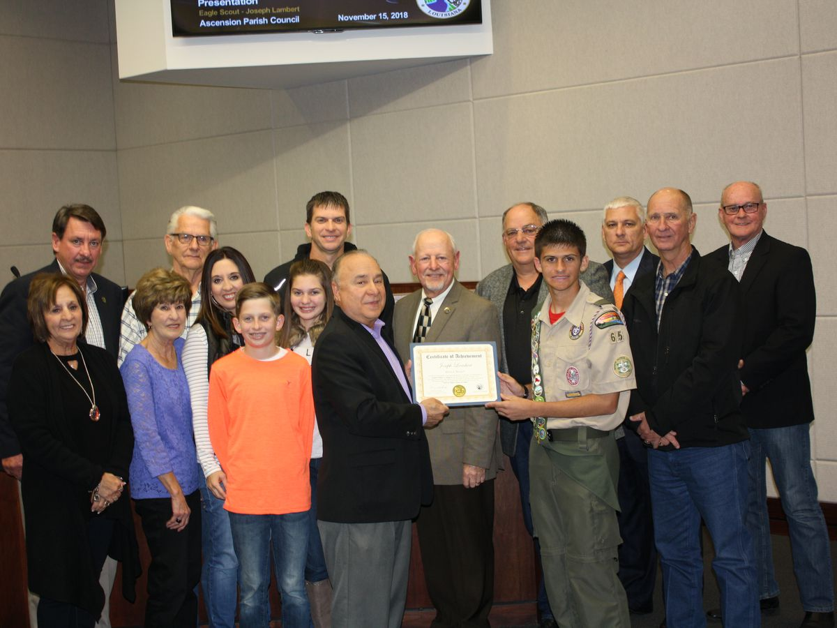 Ascension Parish president recognizes Eagle Scout for work with veteran graves