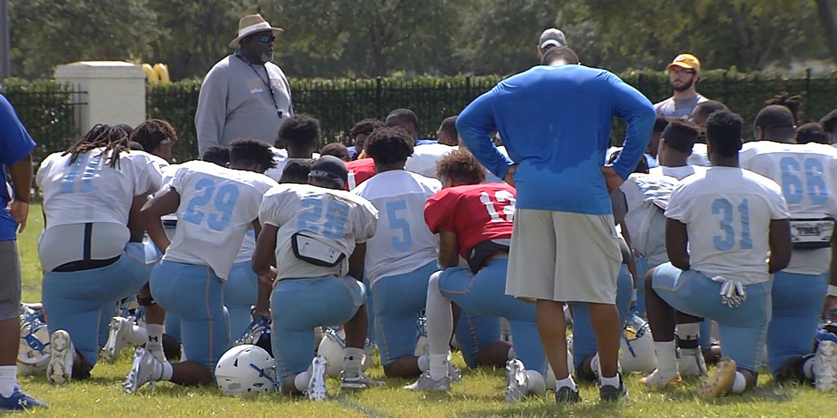Southern works out in full pads for first time of fall camp