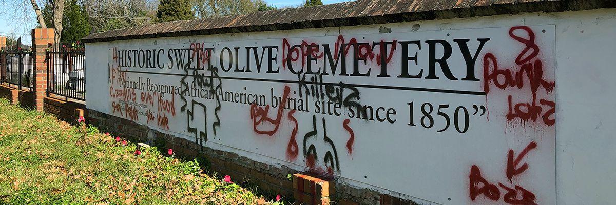 Good Samaritan cleans up vandalism at Sweet Olive Cemetery; BRPD investigating
