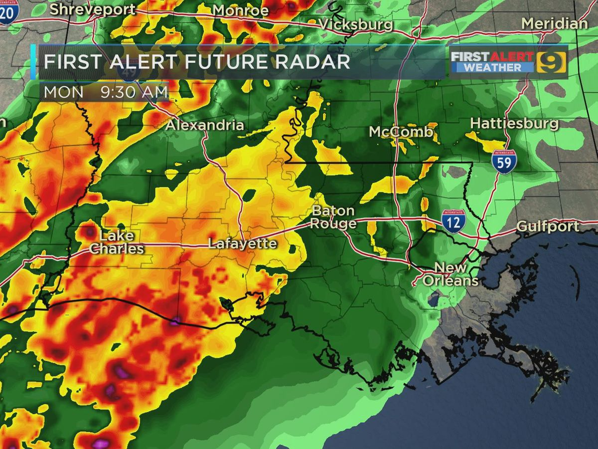 Severe weather will move in late Monday morning