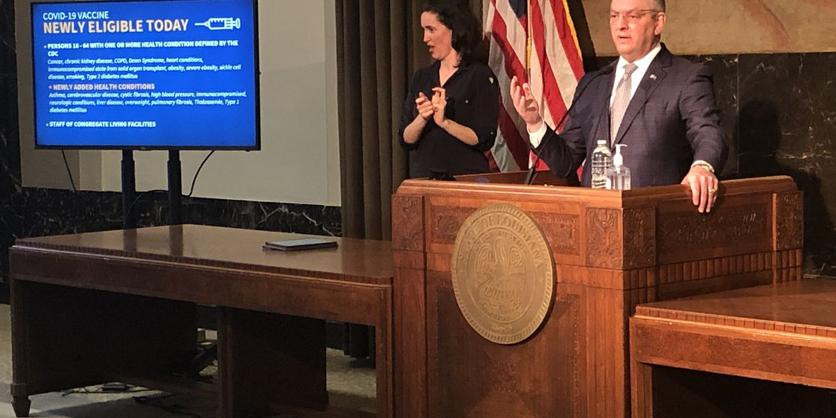 Gov. Edwards discusses state's COVID-19 vaccination progress on one-year anniversary of virus reported in La.