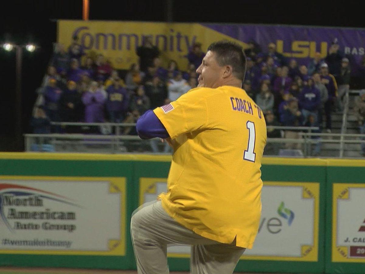 Watch Coach O throw the first pitch of LSU baseball's season opener