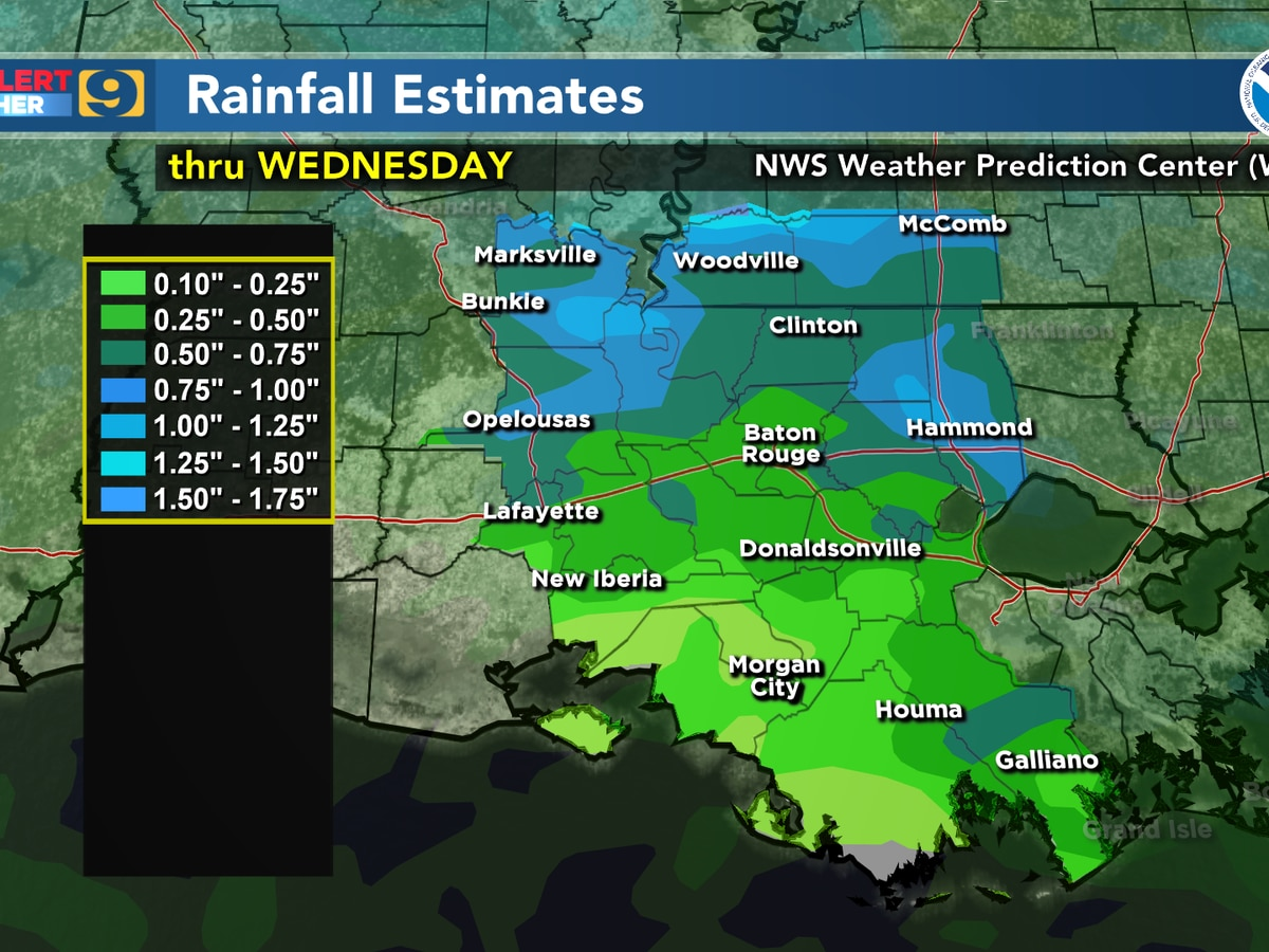FIRST ALERT FORECAST: More rain expected Tues. and Wed., but heavy downpours unlikely