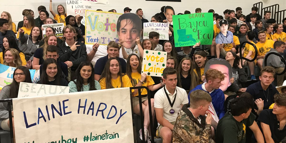 Laine Hardy returns to alma mater, French Settlement High, for special pep rally