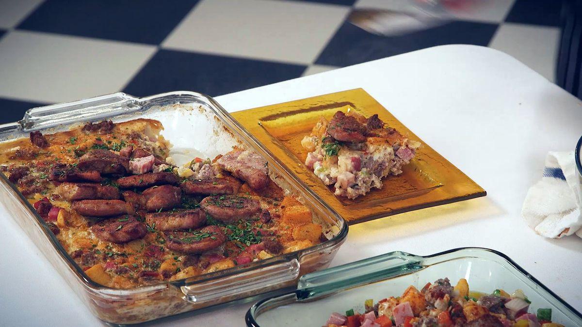 Ham, Sausage, Pork, and Potato Breakfast Casserole