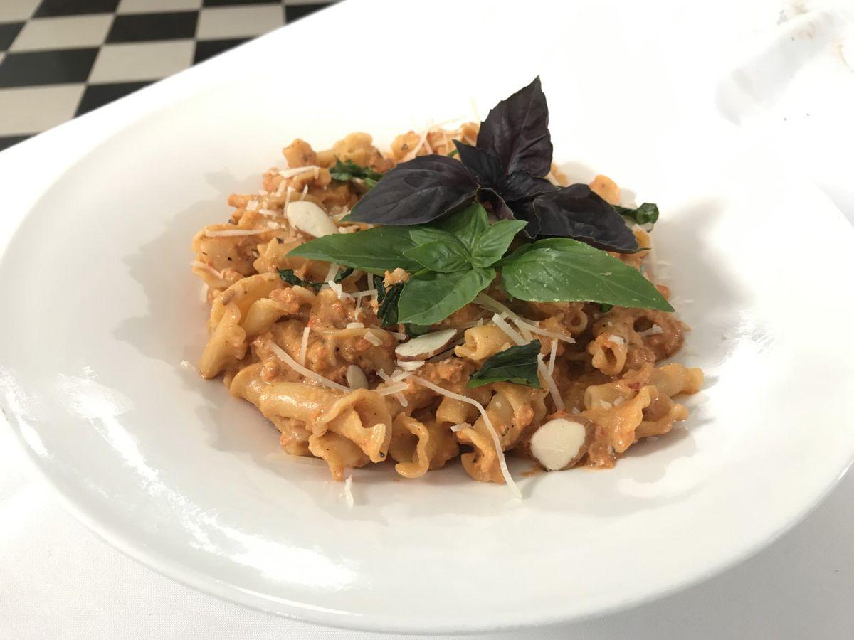 Campanelle with Red Pepper and Tomato-Ricotta Pesto
