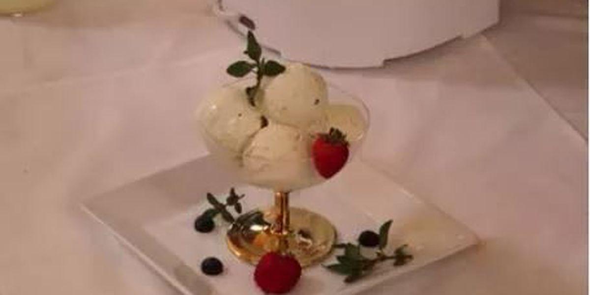 Lavender creole cream cheese ice cream