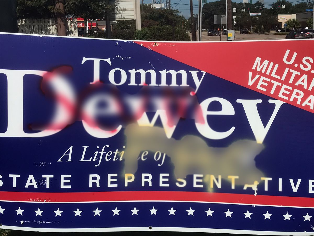 EBRSO looking for person who sprayed derogatory slurs on campaign signs