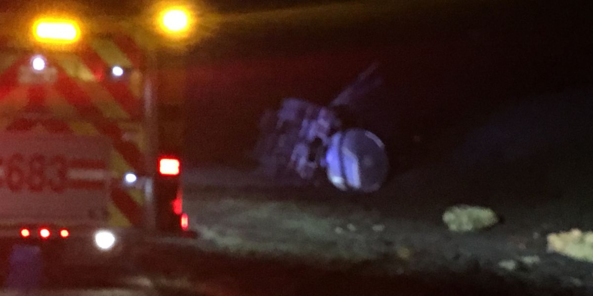 1 injured after 18-wheeler overturns