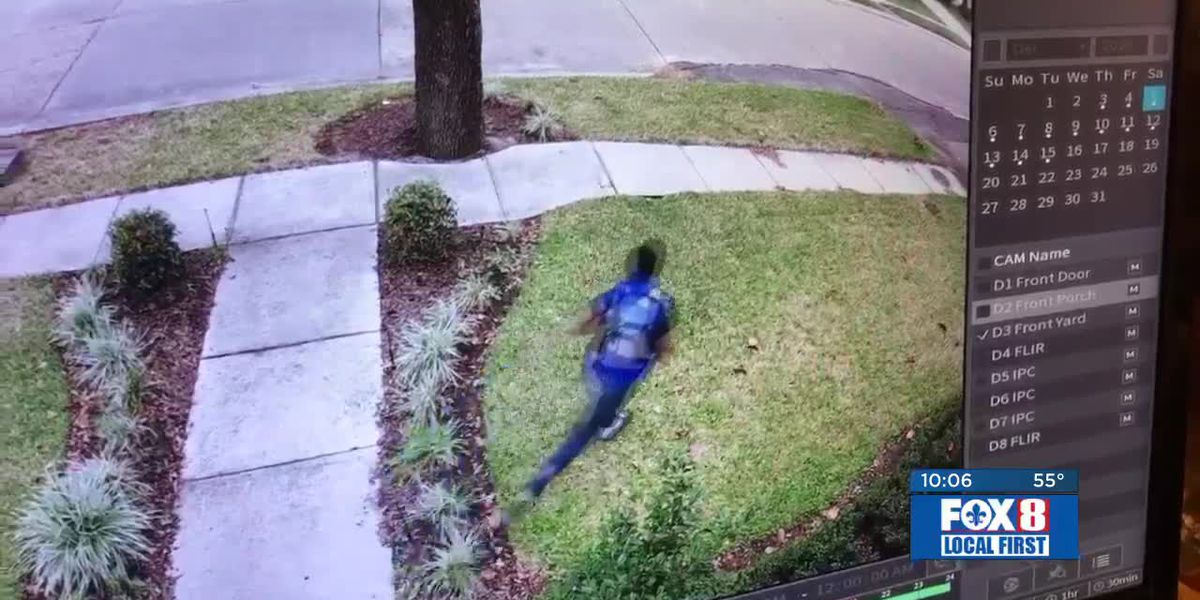 Security camera capture adults, young people stealing decorations, packages
