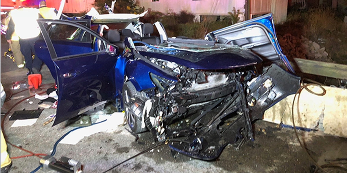 1 injured after vehicle crashes into concrete barrier early Sunday morning