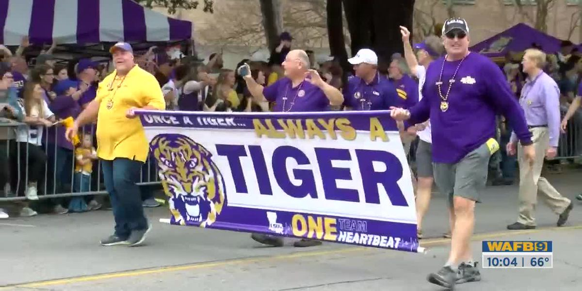 Tigers fan celebrate championship win with coaches, players