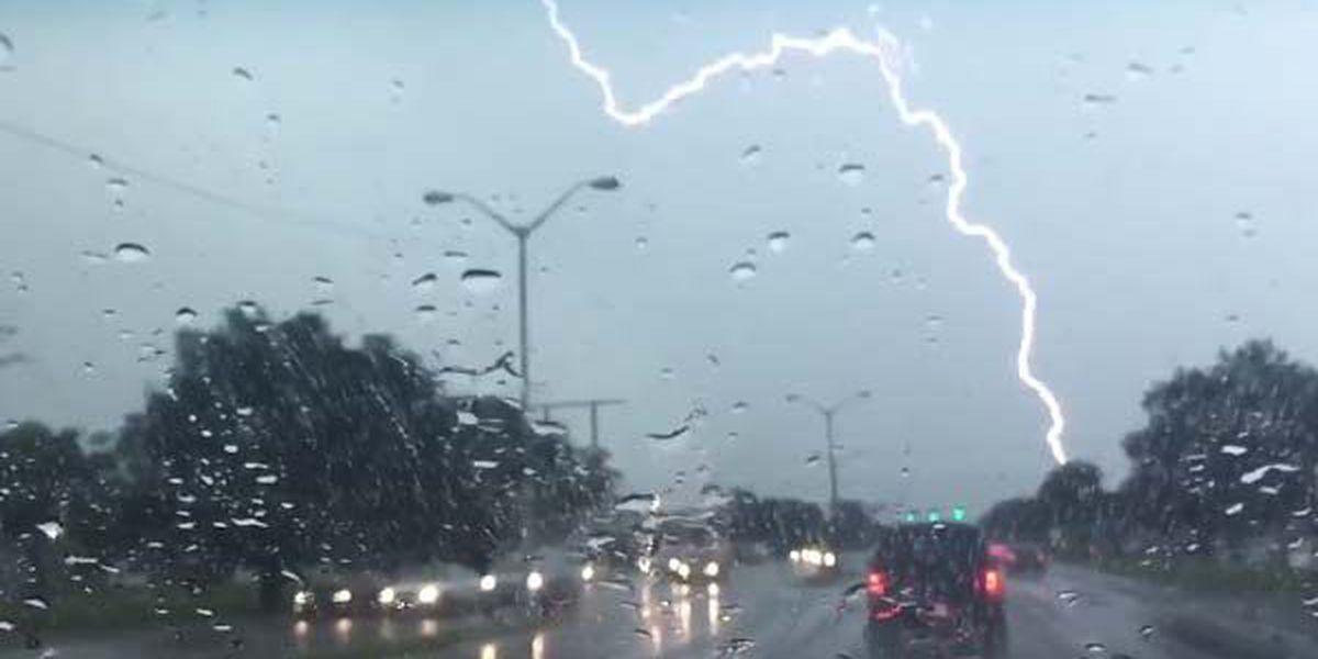 CAUGHT ON CAMERA: Lightning strike in Baton Rouge