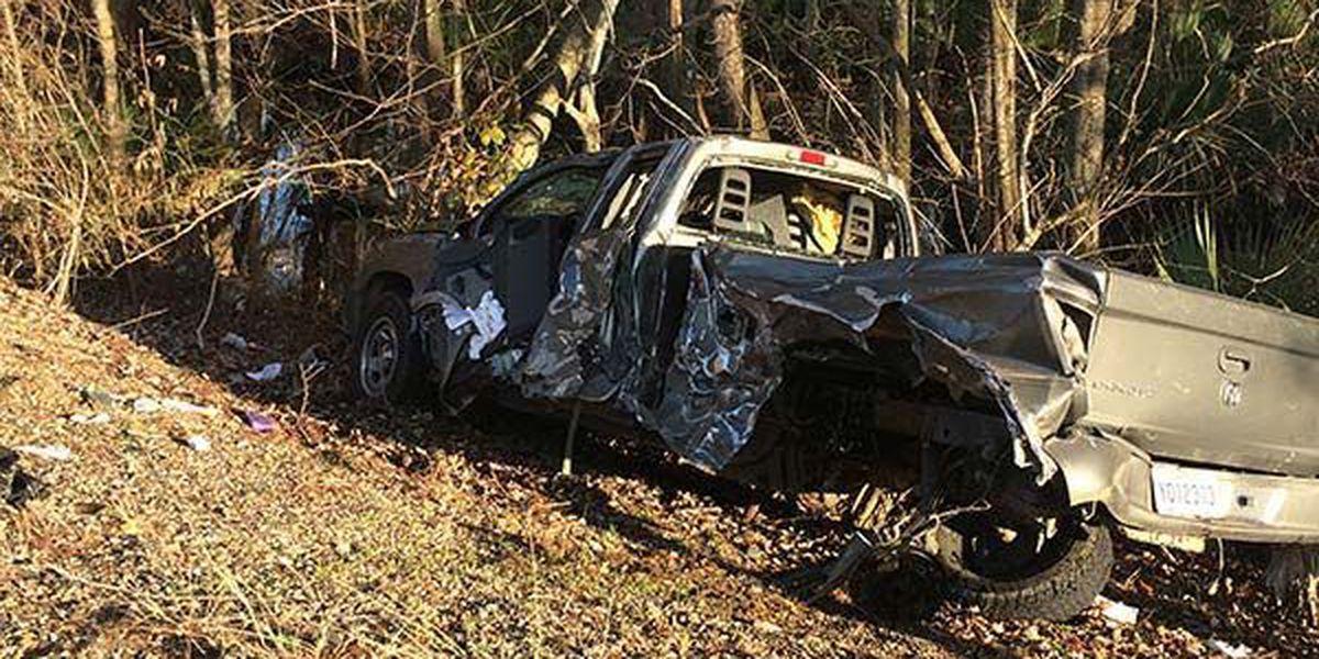 Crash involving 18-wheeler sends driver of pickup to hospital, closes roadway