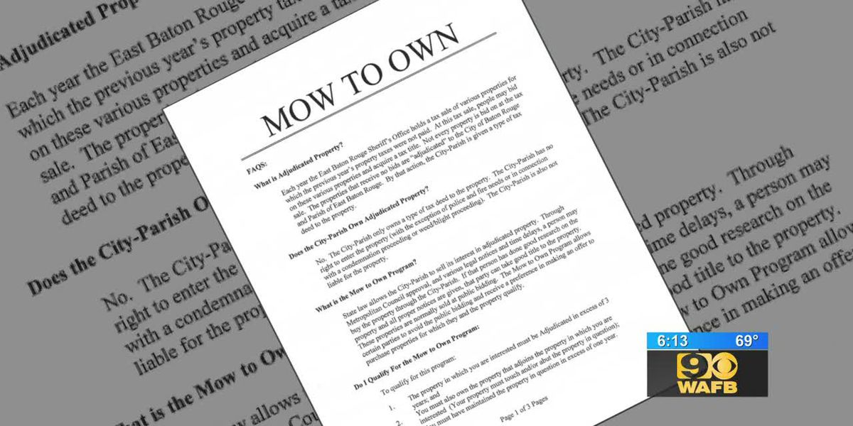 Mow to Own program allows homeowners to bid on adjudicated properties adjacent to their home