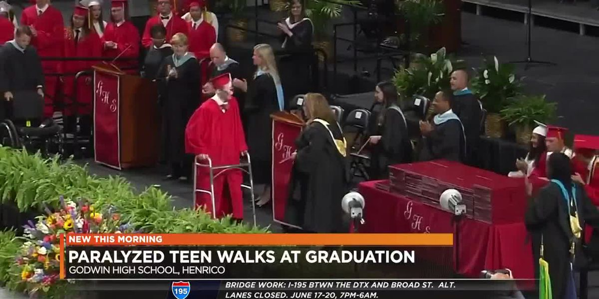 Paralyzed Va. teen walks across stage at high school graduation
