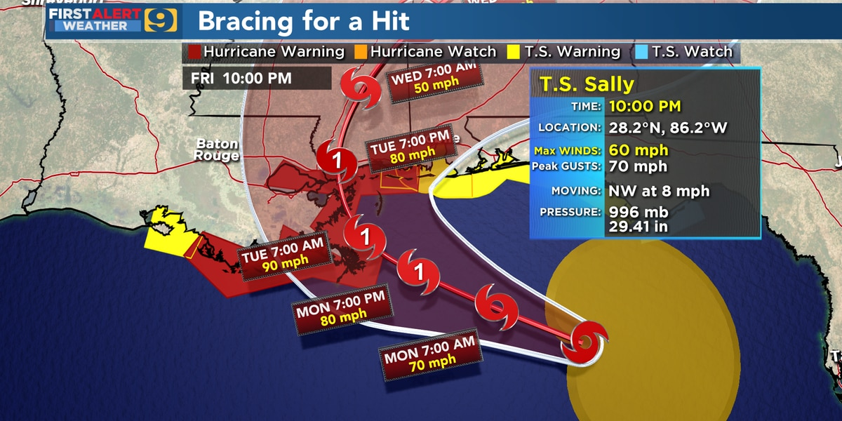 Sally shifts further east