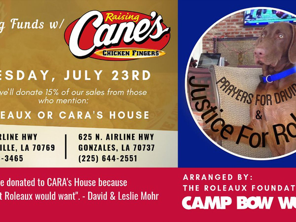 Raising Cane's holding fundraiser for CARA's House to honor Roleaux, dog found dead in owner's stolen pickup
