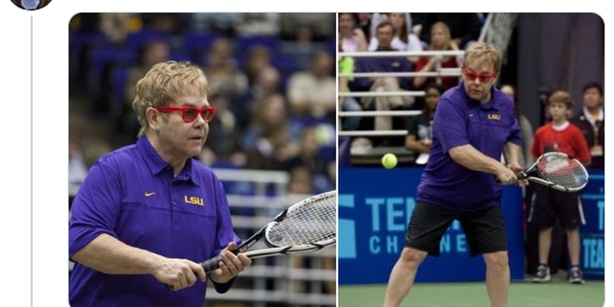 Take a look at '09 Elton John wearing an LSU polo