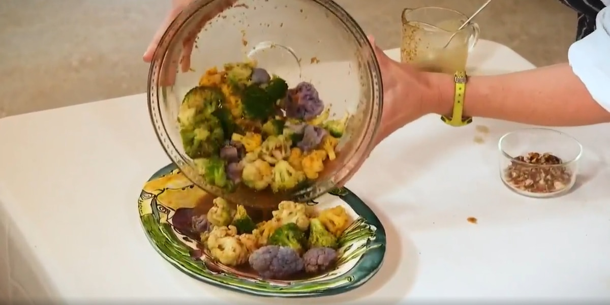 Broccoli and Tri-Colored Cauliflower with Orange-Ginger Dressing