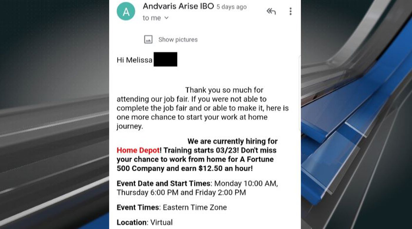 A woman named Melissa says she was scammed after using the job hunting website, indeed.com.