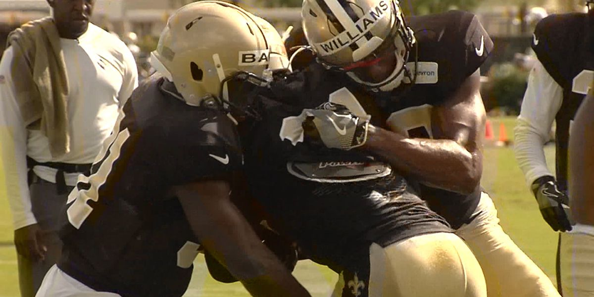 Saints training camp heats up with the pads on for day 3