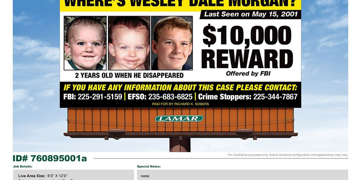 Billboard goes up in E Feliciana Parish for child missing nearly 17 years