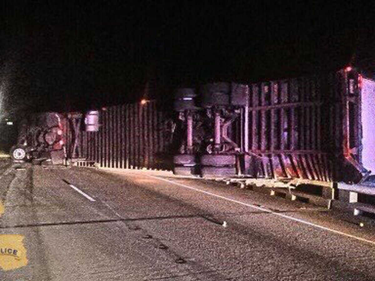 I-10 W at Lobdell reopened more than 12 hours later after overturned tractor-trailer at Whiskey Bay