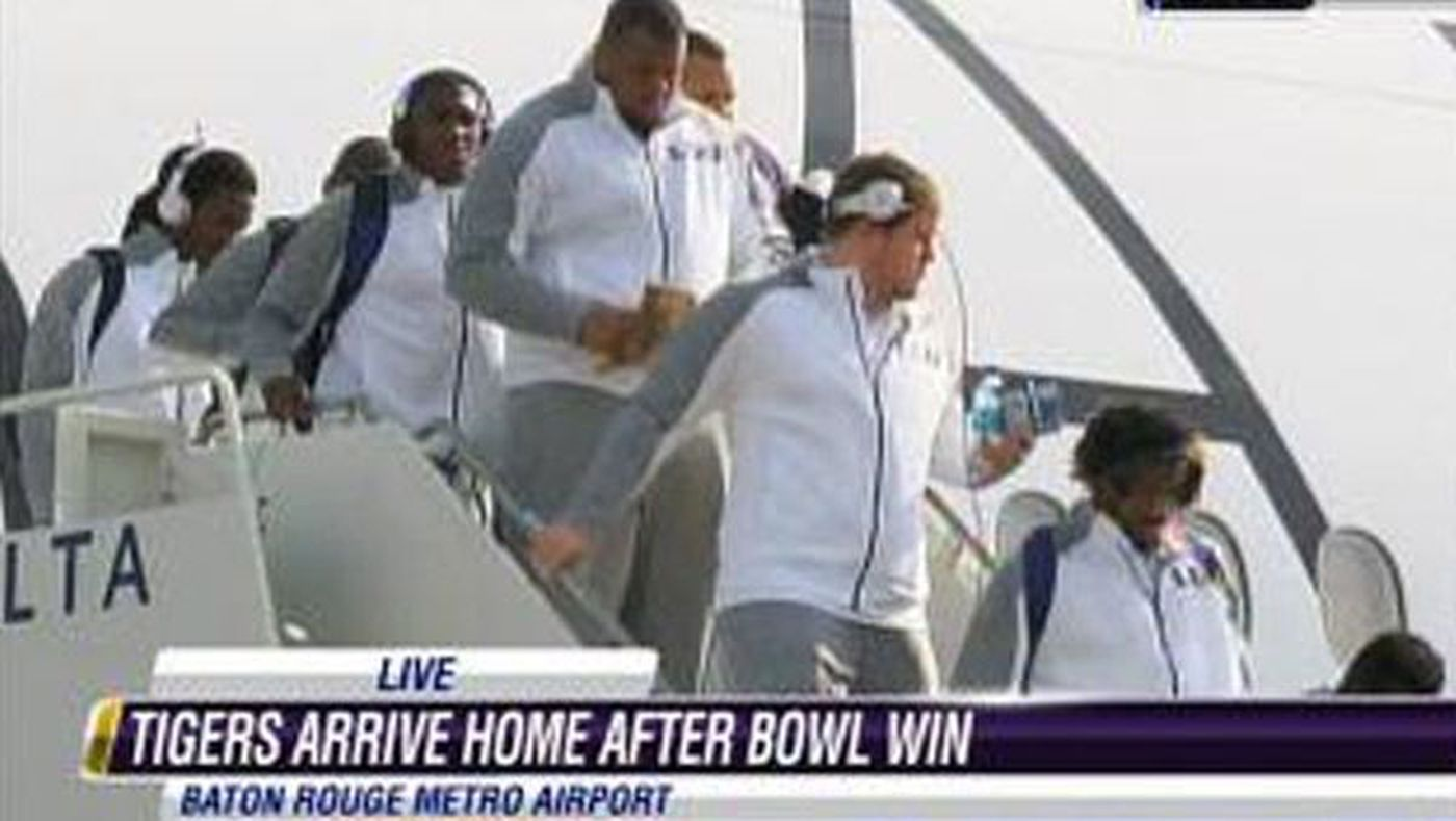 lsu returns to baton rouge after outback bowl win wafb com