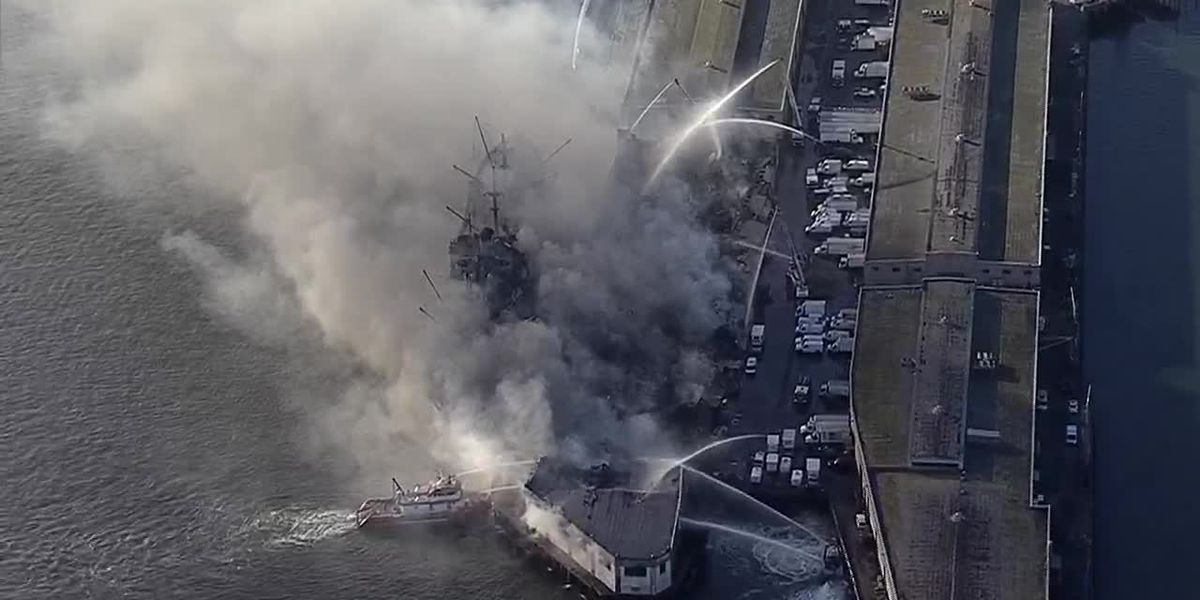 Aerial footage shows four-alarm fire at San Francisco's Pier 45