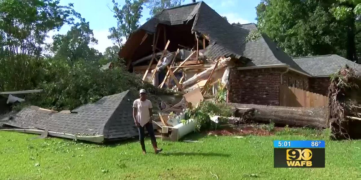 Tree falls on house in Central