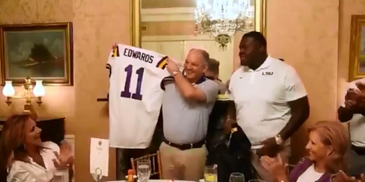 LSU football freshmen present Governor Edwards with special jersey