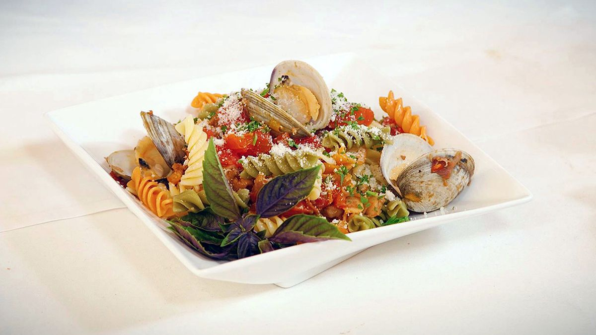 Tri-Colored Rotini with Red Clam Sauce and Proscuitto