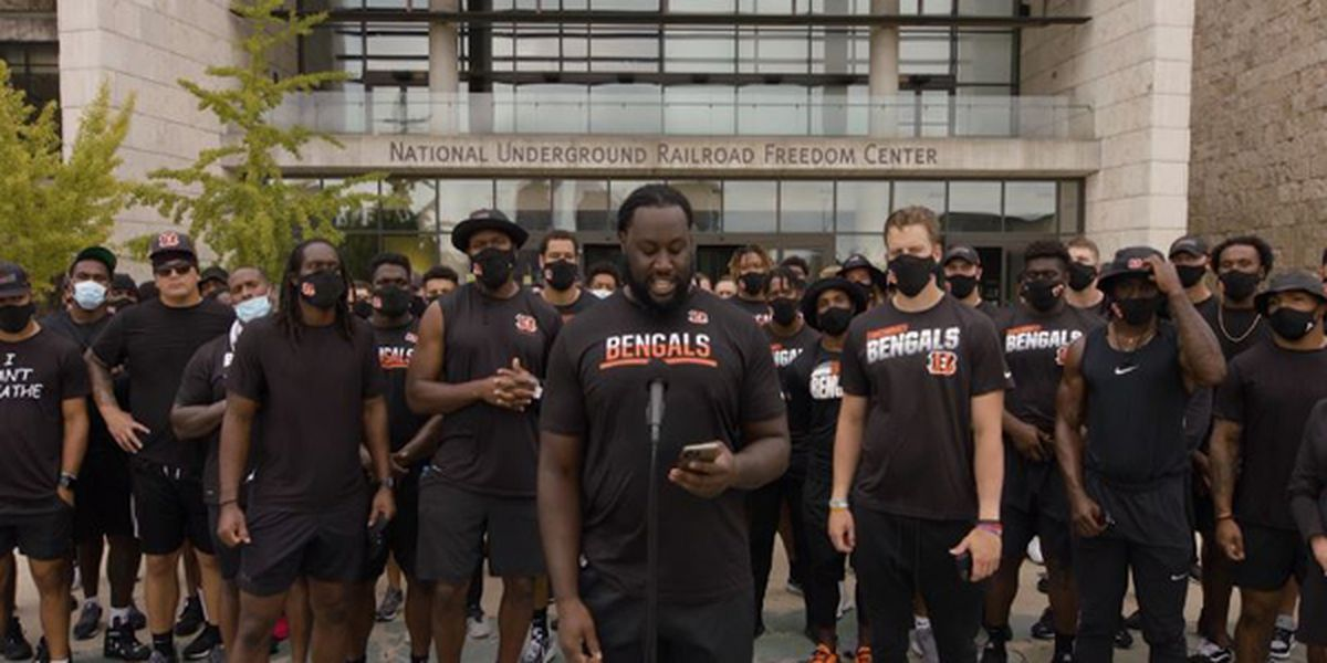Bengals march to Freedom Center to address social justice